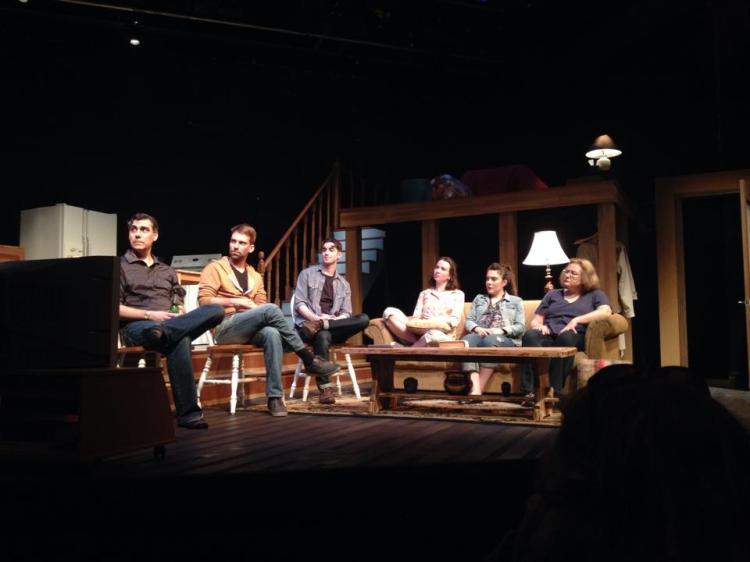 """Rabbit Hole"" cast & director at post-show Talkback, Sun April 20, 2014: with Cameron  Johnston  (Howie), director Paul Hardy, Christopher Manousos (Jason), Paula Schultz (Becca), Joanne Sarazen (Izzy) and Sheila Russell (Nat)."